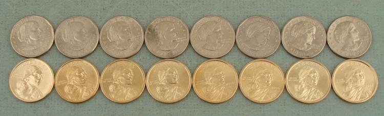 $1 10 Coin Set Susan B. Anthony & Sacagawea Dollars UNC