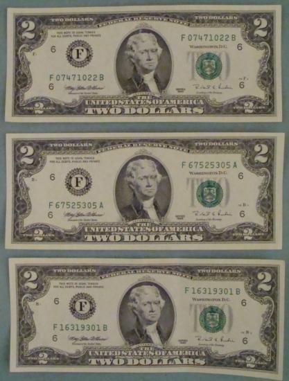 (3) 1995 $2 Bills Atlanta Notes -Uncirculated CU