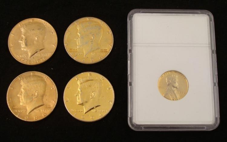 5 Novelty Golden Coins 4 Kennedy Halves 1 Lincoln Cent