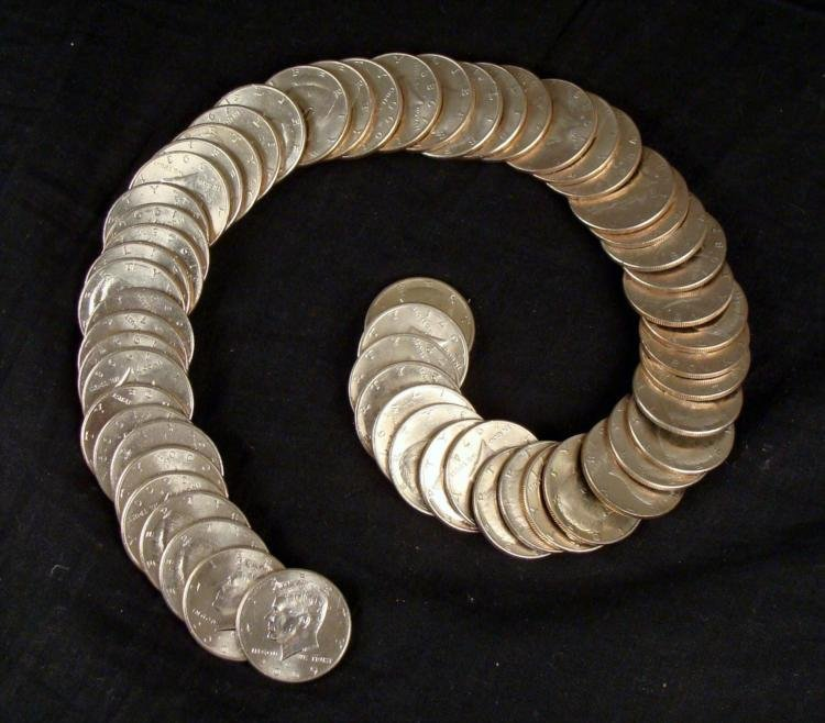 57 Diff Kennedy Halves 1971-2007 Half Dollars, Most UNC