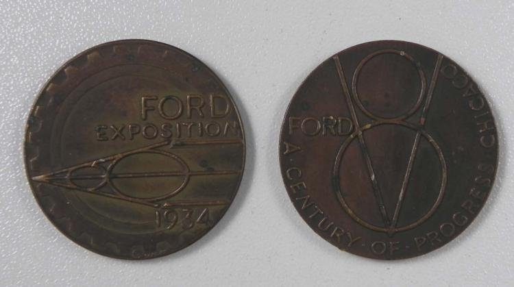 2 1933 Century of Progress Ford Expo Medals