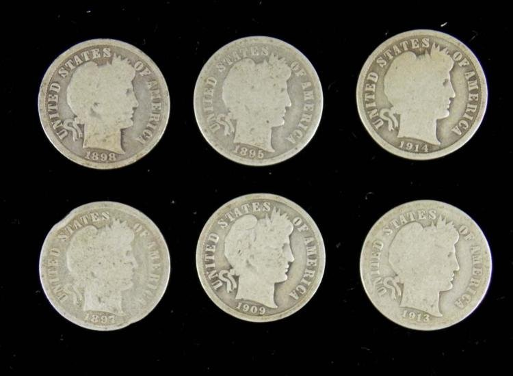 6 Diff Date Barber Dimes -All Clear Dates, 1895-1914