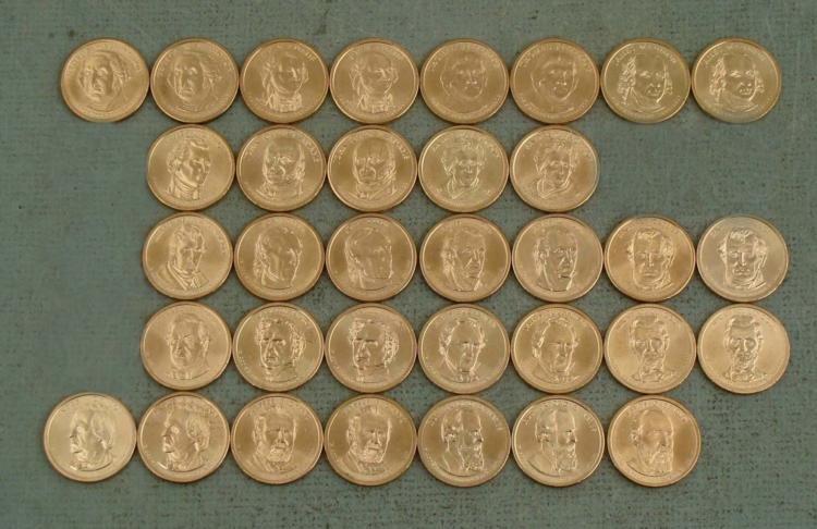 34 Coin Presidential Dollar Set UNC 2007-2011