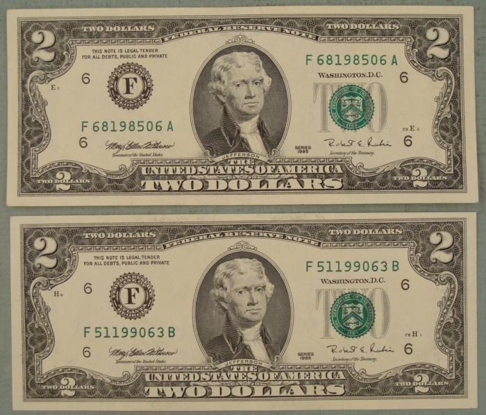 (2) 1995 CU F Mint $2 Dollar Bills Notes Atlanta