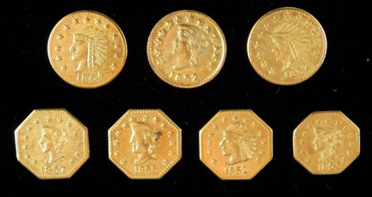 7 Different Californian Gold Tokens 1852-1857