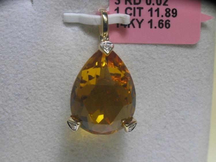 11.89 CT Citrine and .02 CT Diamonds 14K YG Pendant