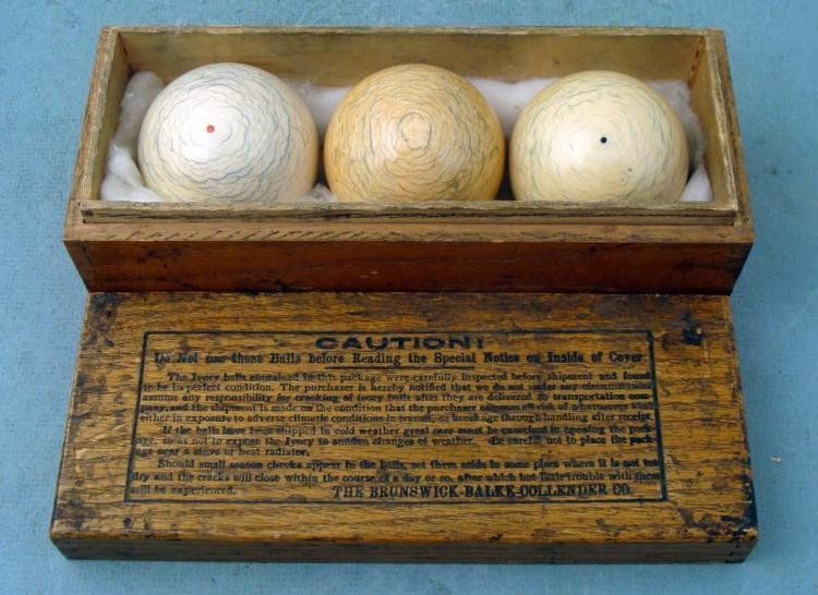 3 Pc Brunswick Balke Collender Ivory Pool Balls in Box