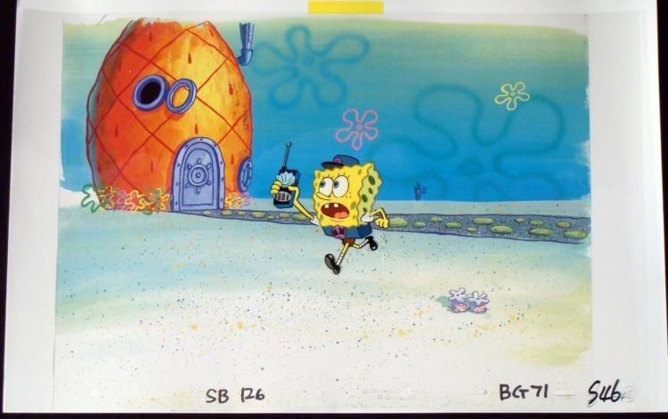 Orig SpongeBob Hall Monitor Production Cel & Background
