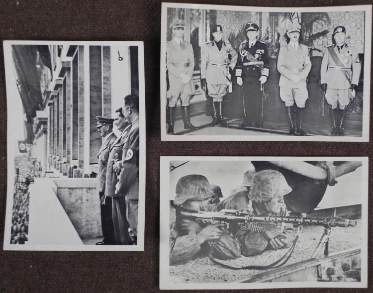 THREE ORIGINAL NAZI POSTCARDS - HITLER WITH MUSSOLINI