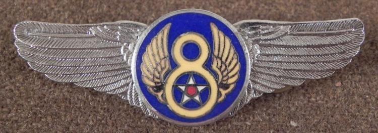 "U.S. 8TH AIR FORCE NON-REGULATION 3"" WINGS- CRIMP BACK"