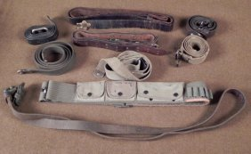 COLLECTION OF RIFLE SLINGS SLINGS AND OLD BANDOLIERS