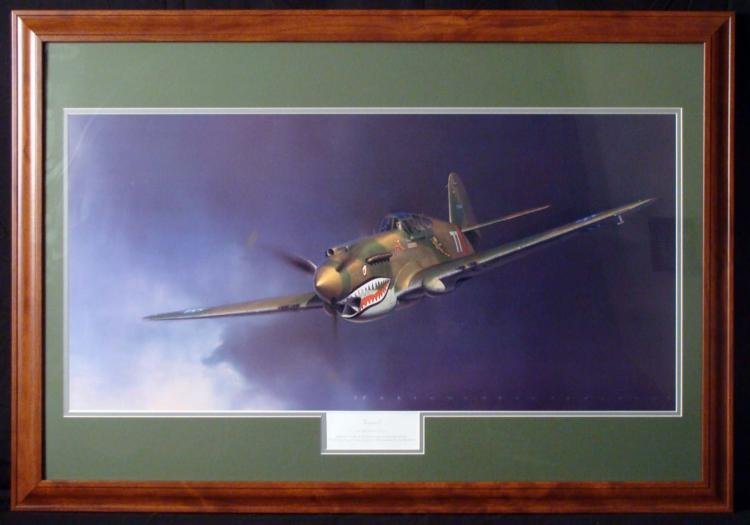 "FLYING TIGER 27x39"" FRAMED COLOR PRINT ROBT T. SMITH"