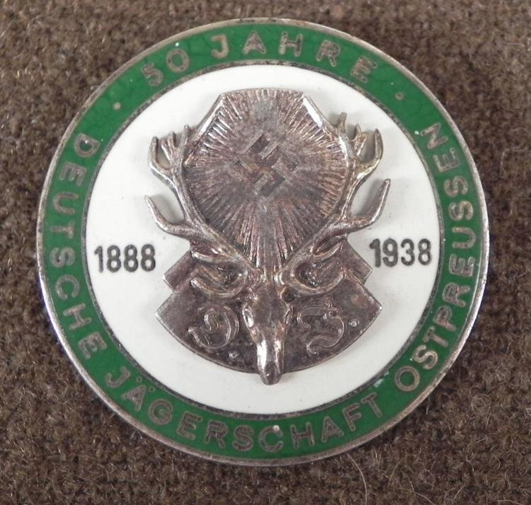 GERMAN HUNTING ASSN 50 YR BADGE UNDER NAZI REGIME