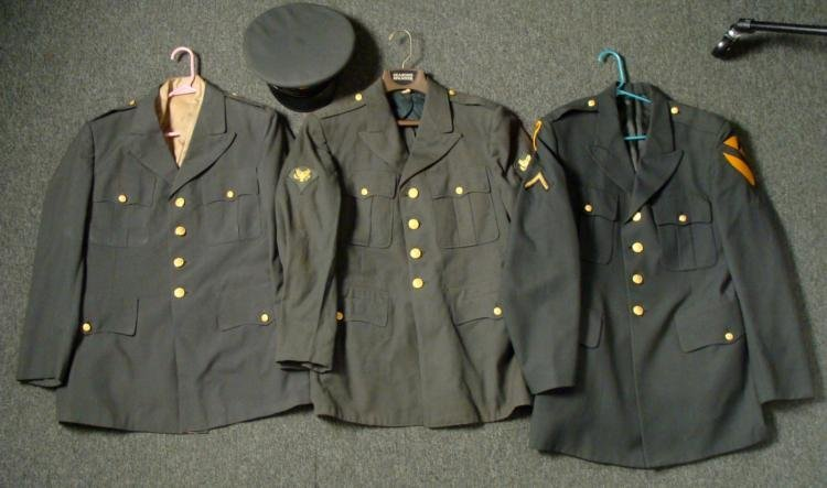 4 PC. U.S. ARMY UNIFORM LOT-3 TUNICS-2 KOREA-1 VIET NAM