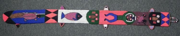 African Beaded Hand Made Tapestry w/Mask, Animals