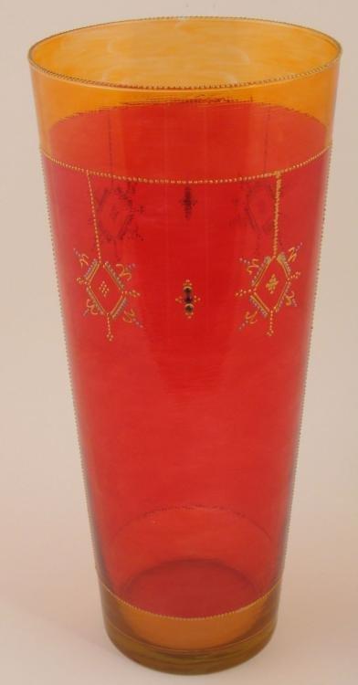 Loren Zina Tall Hand Enameled Art Glass Vase Red
