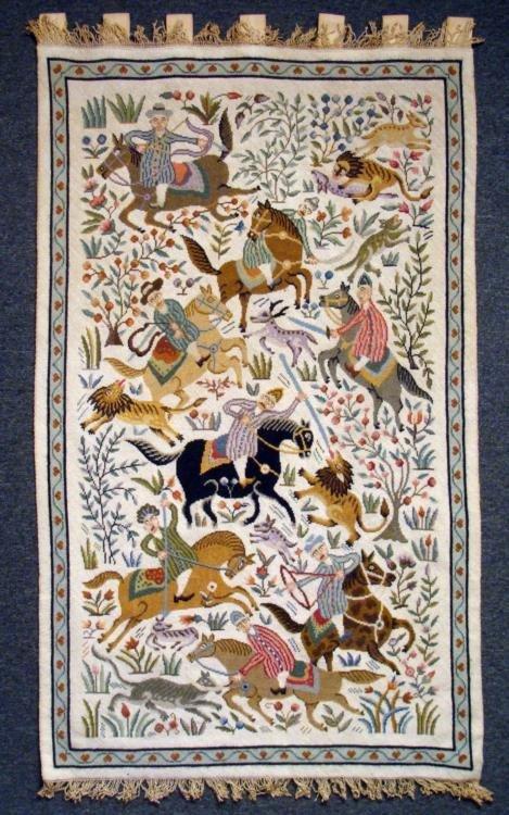 Indian Safari Tapestry w/ Horses, Lion, Monkey