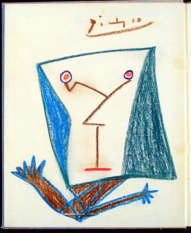 Picasso Original Drawing Signed In Jack Bilbo Book 1945