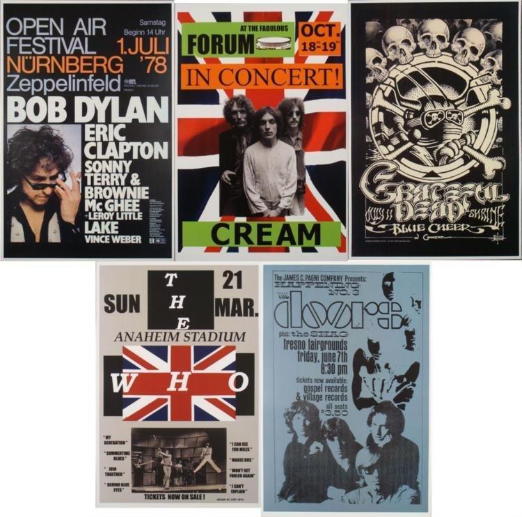 5 Repro Rock Posters- The Doors Bob Dylan Greatful Dead