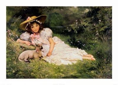 Arthur Dampier Art Print Girl with her Pet