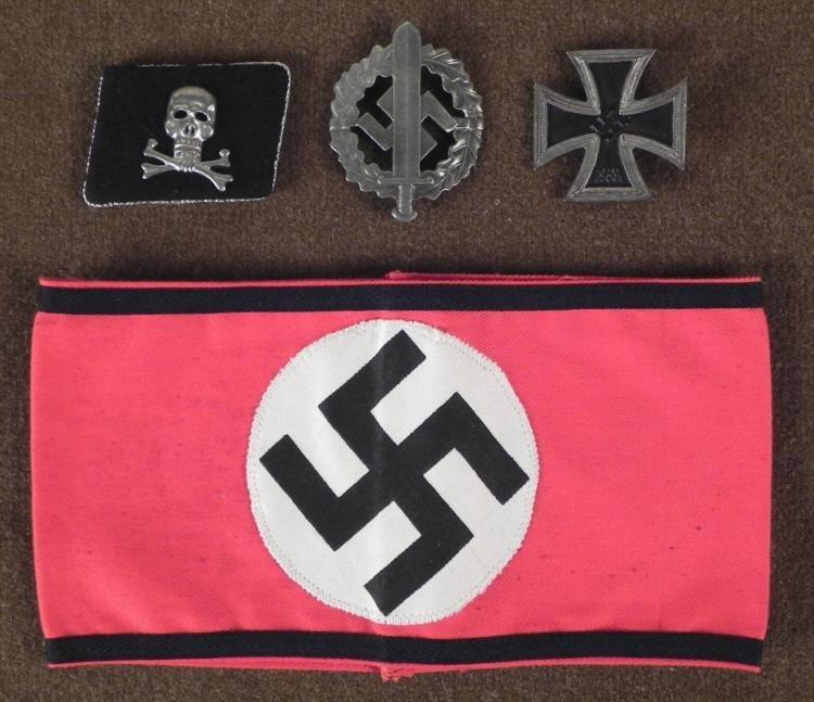 WWII NAZI REPRODUCTION LOT: SS ARMBAND, IRON CROSS 1ST-