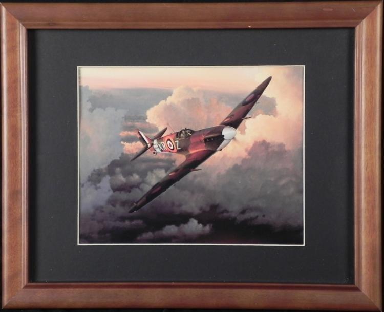 FRAMED WWII BRITISH SPITFIRE FLYING OVER WWII GERMANY