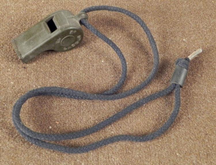 WWII MARINE DRILL SGT WHISTLE ON LANYARD