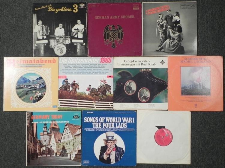 TEN VINTAGE LP's-MOSTLY GERMAN, WWII, WWI