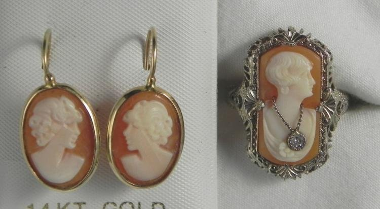 14K Gold & Diamond Cameo Earrings and Ring Set