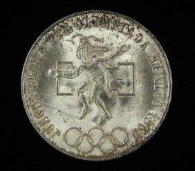 1968 Mexico 25 Pesos Silver UNC Coin -Toned