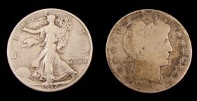 1937-S Walking Liberty & 1904-S Barber Half Dollars
