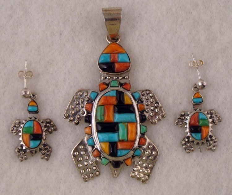 STERLING TURQUOISE OYSTER TURTLE EARRING & PENDANT SET