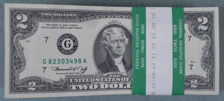 100 $2 Dollar1976 Bills Notes G Mint Chicago Many UNC