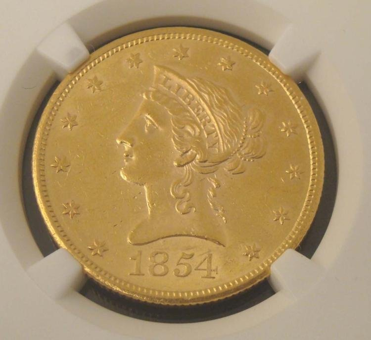 1854-S Gold $10 Coin NGC AU 58 - 2