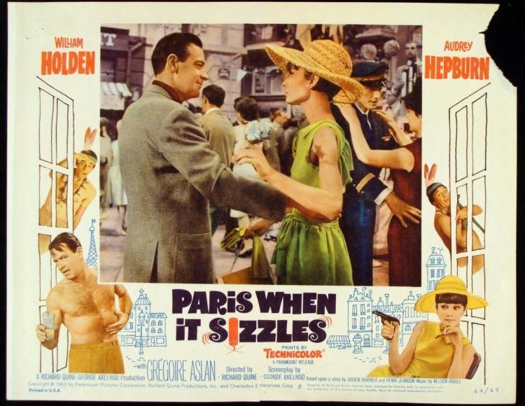 Paris When It Sizzles Orig Lobby Card Audrey Hepburn