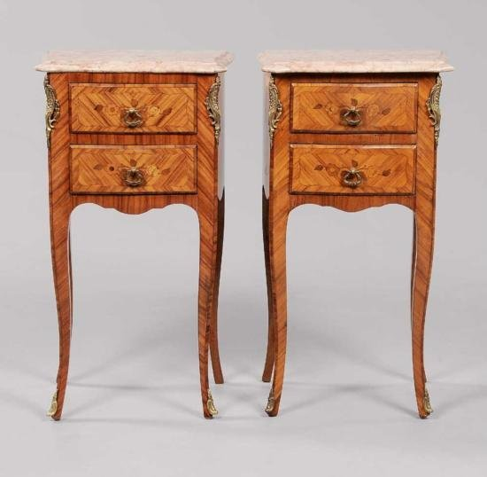 MWF1322 Pair Louis XV Style Marquetry Side Commodes Fre