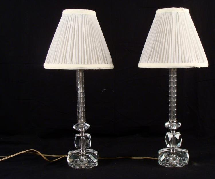 2 Vintage Crystal Glass Table Lamps with Shades Pair