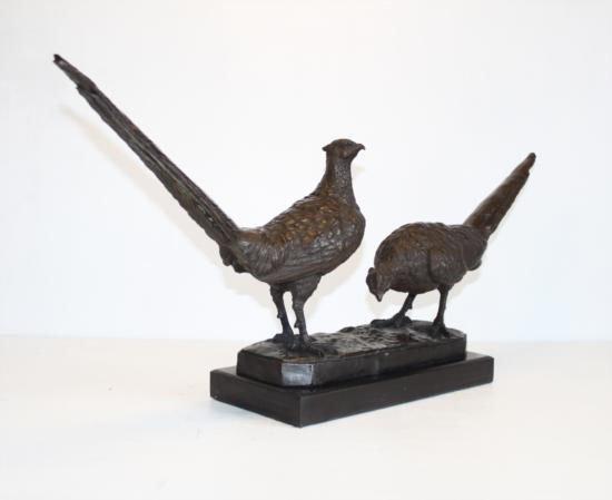 Fine Bronze Sculpture Pheasant Pair - 2