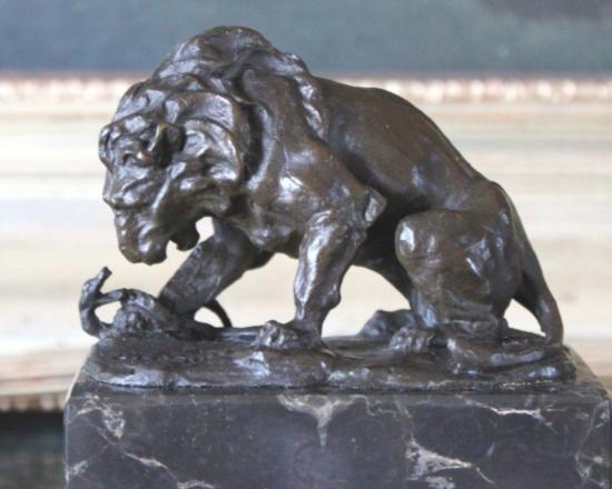 Striking Lion & Serpent Bronze Sculpture After L. Ca