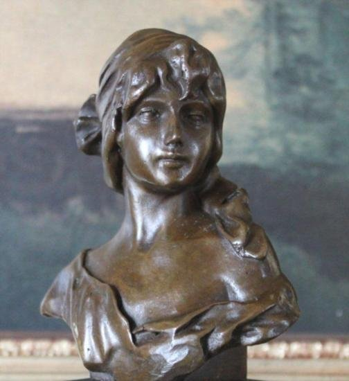 Delightful Young Lady Bust Bronze Sculpture After LeB