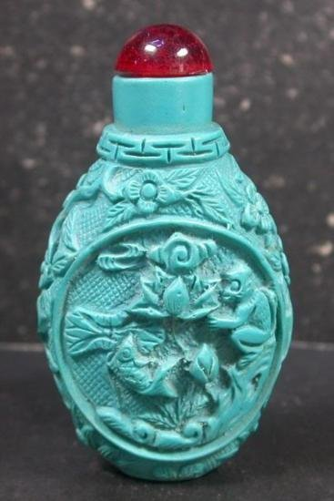 MWF1191 Handcarved Chinese Turquoise Blue Jade Snuff Bo