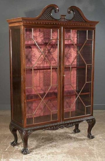 GT0424120130 Chippendale mahogany bookcase cabinet with