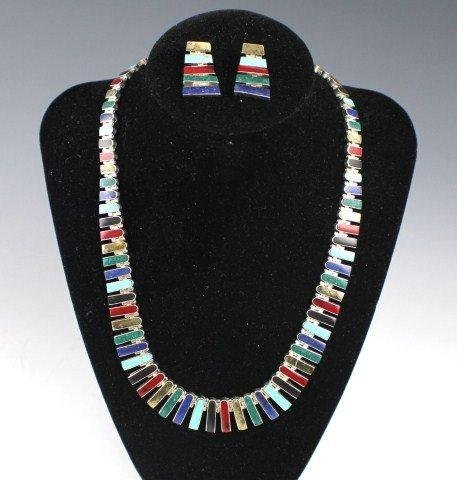 ET0503120056 MEXICAN STERLING MULTI-STONE NECKLACE WITH