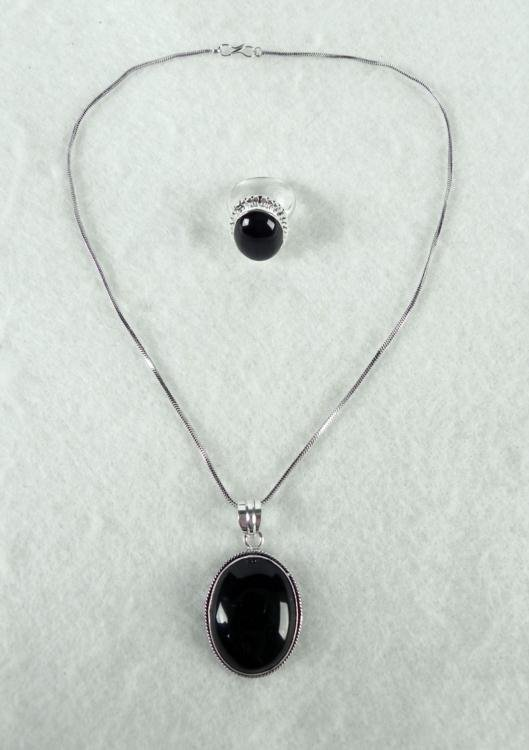 Black Onyx 2 Pc Sterling Ring & Pendant Necklace Set