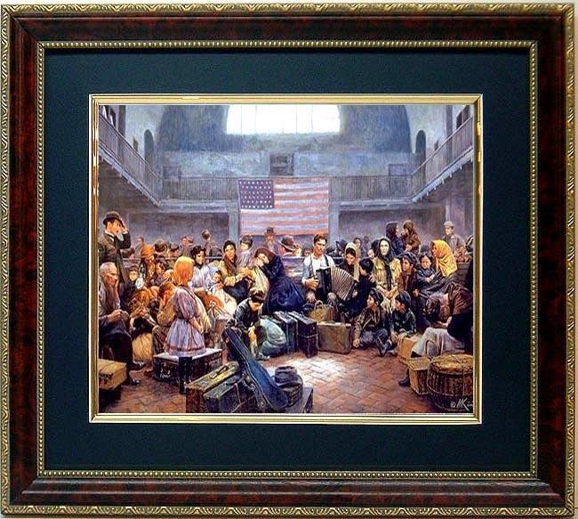 Mort Kustler Historic Framed Art Print Ellis Island NY