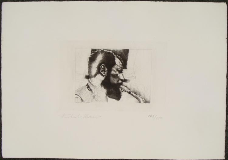 Robiati Maurizio Signed Etching Print LE Saxophone Jazz