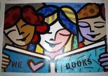 Jozza Original Pop Art Painting On Canvas We Love Books