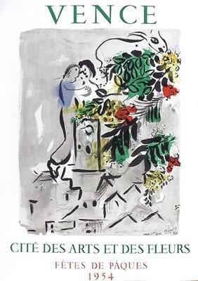 Marc Chagall Art Print Vence, 1954 Offset Penn 1970