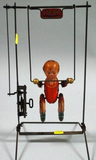 Lithographed Tin ~Tik Tak~ Wind-up Acrobat Toy c. 1930