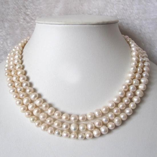 FORMAL Three Row White Freshwater Pearl Necklace